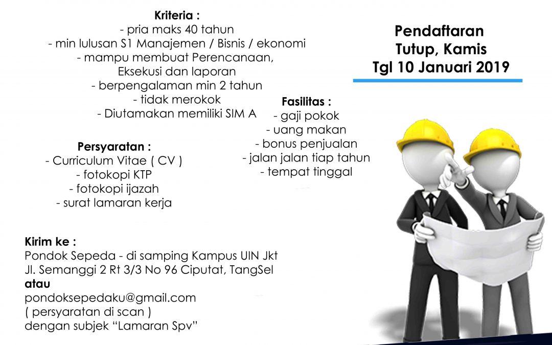 Lowongan Kerja Supervisor – Pondok Sepeda ( PT Meruri Citra Indonesia )