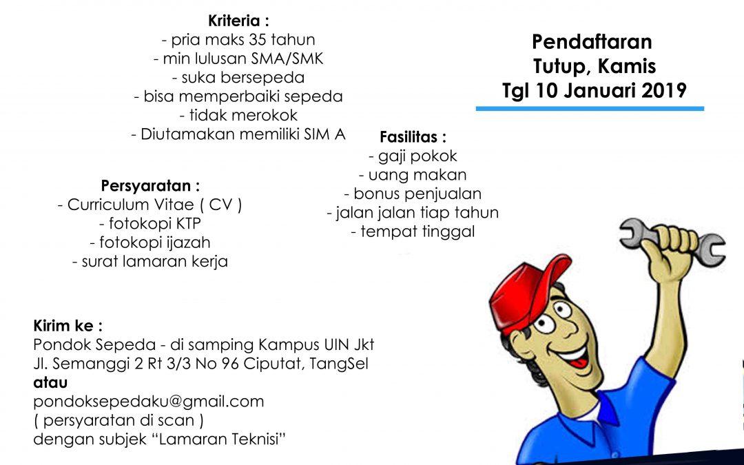 Lowongan Kerja Teknisi – Pondok Sepeda ( PT Meruri Citra Indonesia )